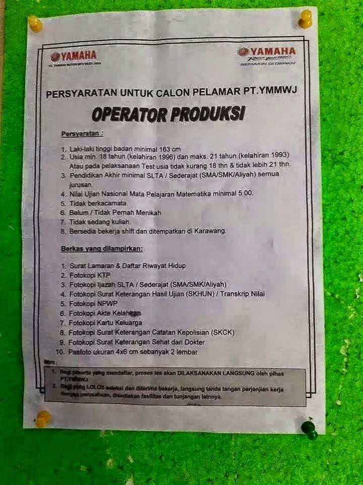 Lowongan Kerja Pt Yamaha Motor Manufacturing West Java Kiic Karawang Keluaran Togel Online Tercepat Hari Ini